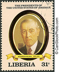 LIBERIA - CIRCA 1982: A stamp printed in Liberia shows President Woodrow Wilson (1913-1921), series the Presidents of the USA, circa 1982