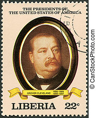 LIBERIA - CIRCA 1982: A stamp printed in Liberia shows President Grover Cleveland (1885-1889, 1893-1897), series the Presidents of the USA, circa 1982