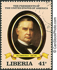 LIBERIA - CIRCA 1982: A stamp printed in Liberia shows President William McKinley (1897-1901), series the Presidents of the USA, circa 1982