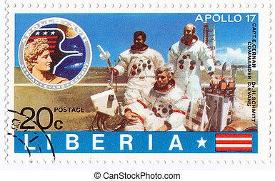 LIBERIA - CIRCA 1985 : stamp printed in Liberia shows NASA...