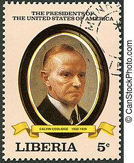 liberia, coolidge, estados unidos de américa, estampilla,...