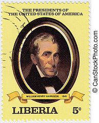 liberia, :, estados unidos de américa, estampilla, -, william, 2000, impreso, 9, henry, presidente, hacia, exposiciones, harrison