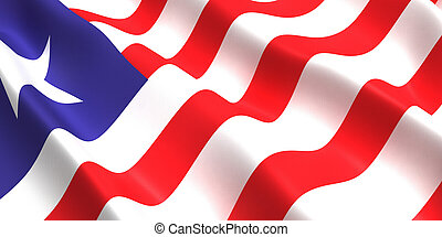 Liberia flag 3d - the flag of Liberia flutters in the wind ...