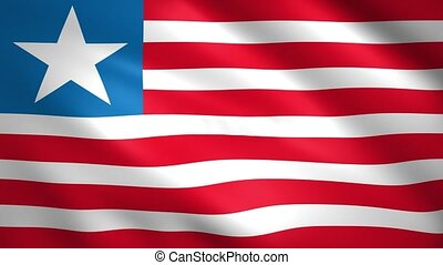 Liberia flag blowing in the wind