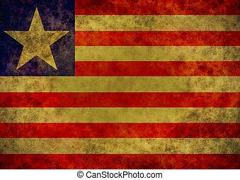 Liberia flag - Illustrated grunge flag of the country ...