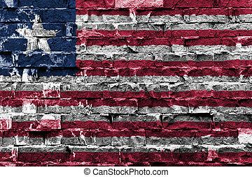 Liberia flag on brick wall