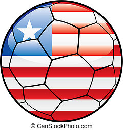 Liberia flag on soccer ball