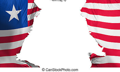 Liberia flag ripped apart, white background, 3d rendering