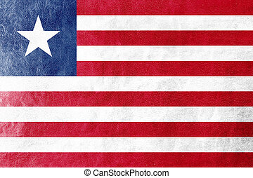 liberia flagg, målad, på, läder, struktur