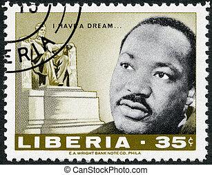 liberia, -, hacia, 1968:, un, estampilla, impreso, en,...