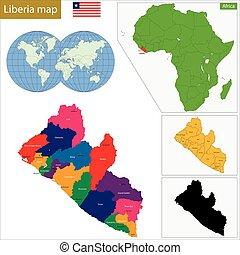 Liberia map - Administrative division of the Republic of...