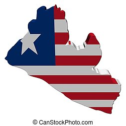 Liberia map flag 3d render on white illustration