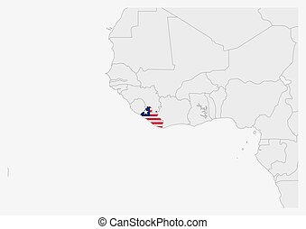 Liberia map highlighted in Liberia flag colors, gray map ...