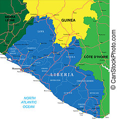 Liberia map - Highly detailed vector map of Liberia with...