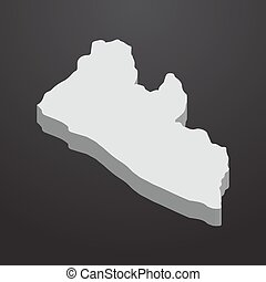 Liberia map in gray on a black background 3d