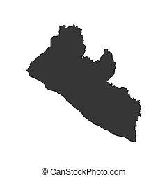 Liberia map silhouette