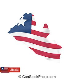 Liberia map with waving flag of country.