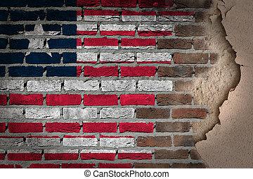 liberia, muur, pleister, -, donker, baksteen