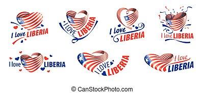 liberia, nazionale, liberia., iscrizione, illustrazione, amore, vettore, bandiera