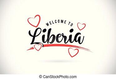 liberia, parola, testo, benvenuto, hearts., amore, font, rosso, scritto mano