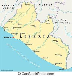 Liberia Political Map with capital Monrovia, national...