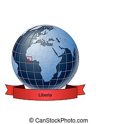 Liberia, position on the globe Vector version with separate ...