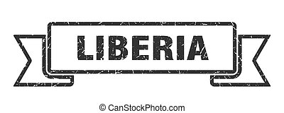 Liberia ribbon. Black Liberia grunge band sign