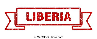 Liberia ribbon. Red Liberia grunge band sign