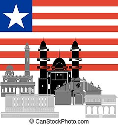 Liberia - State flag and architecture of the country....