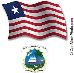 liberia textured wavy flag vector - liberia shadowed...