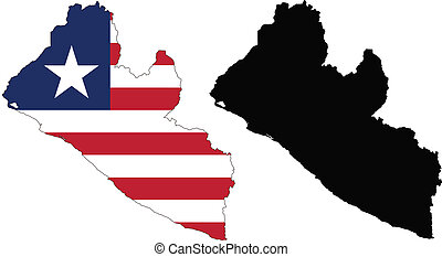 liberia - vector map and flag of Liberia with white...