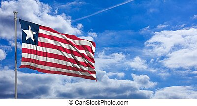 Liberia waving flag on blue sky. 3d illustration