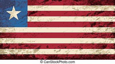 Liberian flag. Grunge background.
