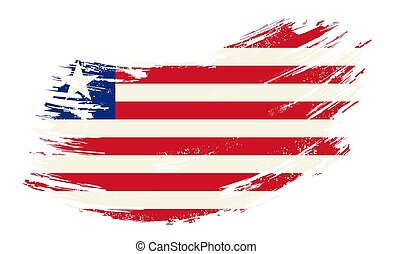 Liberian flag grunge brush background. Vector illustration.