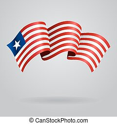 Liberian waving Flag. Vector illustration