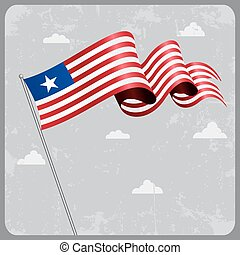 Liberian wavy flag. Vector illustration.