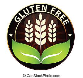 libero, cibo, icona, gluten