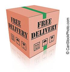libero, consegna, carboard, scatola, pacchetto
