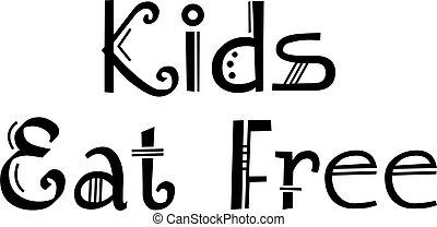 libero, fondo, bambini, bianco, mangiare, segno
