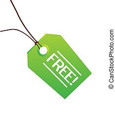libero, verde, abbigliamento, etichetta