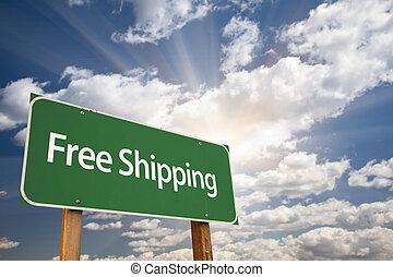 libero, verde, spedizione marittima, segno strada