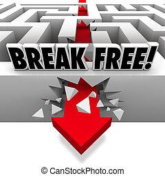 libertà, interruzioni, libero, attraverso, freccia, labirinto