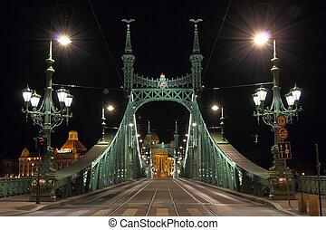 libertà, ponte, in, budapest, illuminato, a, night.