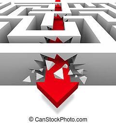 libertà, rompendo attraverso, labirinto