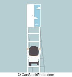 libertà, scala, uomo affari, porta, rampicante