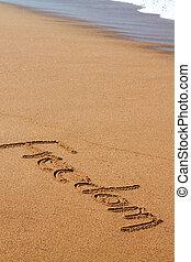 libertà, scritto, spiaggia