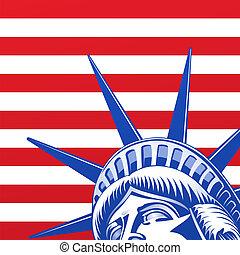 libertà, statua, faccia