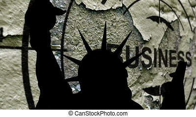 liberté, business, contre, fond, statue
