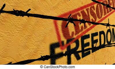 liberté, concept, censuré