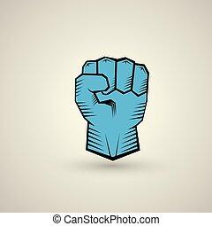 liberté, concept., vecteur, poing, icône